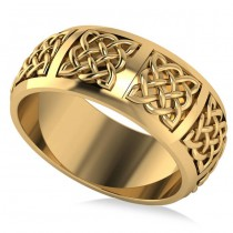 Celtic Wedding Ring Band 14k Yellow Gold