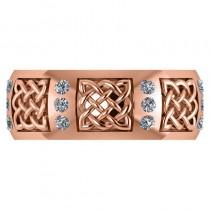 Celtic Diamond Wedding Ring Band 14k Rose Gold (0.24ct)