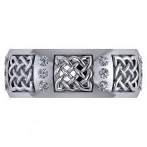 Celtic Diamond Wedding Ring Band 14k White Gold (0.24ct)