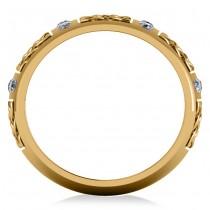 Celtic Diamond Wedding Ring Band 14k Yellow Gold (0.24ct)