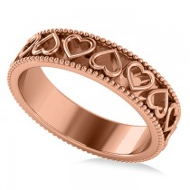 Carved Heart Shaped Wedding Ring Band 14k Rose Gold