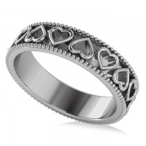 Carved Heart Shaped Wedding Ring Band 14k White Gold