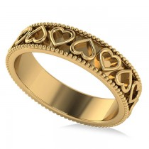 Carved Heart Shaped Wedding Ring Band 14k Yellow Gold