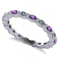 Diamond & Amethyst Marquise Wedding Ring Ring Band 14k White Gold (0.74ct)