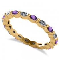 Diamond & Amethyst Marquise Wedding Ring Band 14k Yellow Gold (0.74ct)