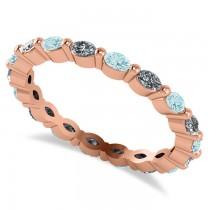 Diamond & Aquamarine Marquise Wedding Ring Band 14k Rose Gold (0.74ct)