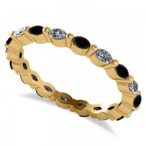 Black Diamond & Diamond Wedding Ring Band 14k Yellow Gold (0.74ct)