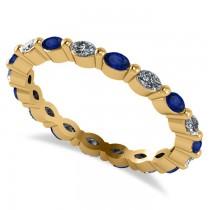 Diamond & Blue Sapphire Marquise Wedding Ring Band 14k Yellow Gold (0.74ct)