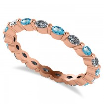 Diamond & Blue Topaz Marquise Wedding Ring Band 14k Rose Gold (0.74ct)