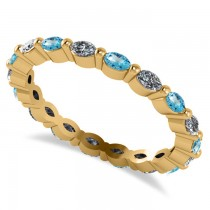 Diamond & Blue Topaz Marquise Wedding Ring Band 14k Yellow Gold (0.74ct)
