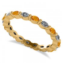 Diamond & Citrine Marquise Wedding Ring Band 14k Yellow Gold (0.74ct)