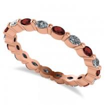 Diamond & Garnet Marquise Wedding Ring Band 14k Rose Gold (0.74ct)