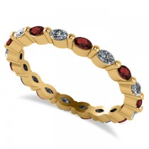 Diamond & Garnet Marquise Wedding Ring Band 14k Yellow Gold (0.74ct)
