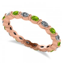 Diamond & Peridot Marquise Wedding Ring Band 14k Rose Gold (0.74ct)