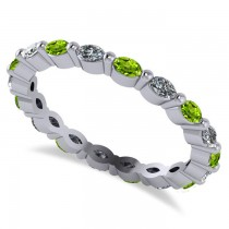 Diamond & Peridot Marquise Wedding Ring Band 14k White Gold (0.74ct)