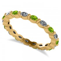 Diamond & Peridot Marquise Wedding Ring Band 14k Yellow Gold (0.74ct)