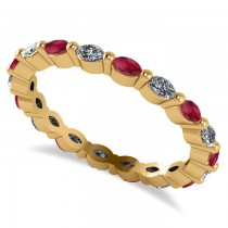 Diamond & Ruby Marquise Wedding Ring Band 14k Yellow Gold (0.74ct)