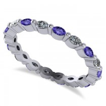 Diamond & Tanzanite Marquise Wedding Ring Band 14k White Gold (0.74ct)