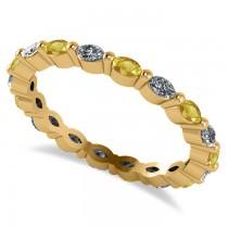 Diamond & Yellow Sapphire Marquise Wedding Ring Band 14k Yellow Gold (0.74ct)
