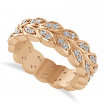Diamond Leaf Wedding Ring Band 14k Rose Gold (0.60ct)