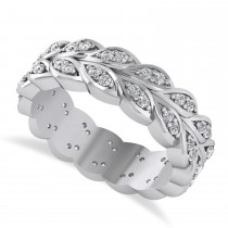 Diamond Leaf Wedding Ring Band 14k White Gold (0.60ct)