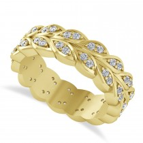 Diamond Leaf Wedding Ring Band 14k Yellow Gold (0.60ct)