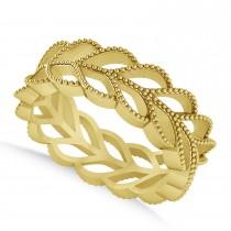 Leaf Wedding Ring Band 14k Yellow Gold