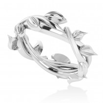 Wreath Wedding Band 14k White Gold