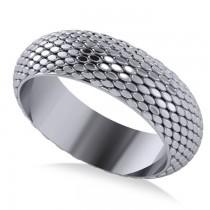 Snakeskin Textured Infinity Wedding Band 14K White Gold
