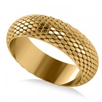 Snakeskin Textured Infinity Wedding Band 14K Yellow Gold