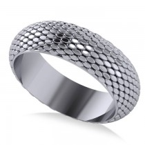 Snakeskin Textured Infinity Wedding Band 18k White Gold