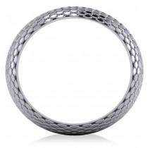 Snakeskin Textured Infinity Wedding Band 18k White Gold