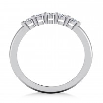 Oval Diamond Five Stone Wedding Band 14k White Gold (1.00ct)