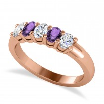 Oval Diamond & Amethyst Five Stone Ring 14k Rose Gold (1.00ct)