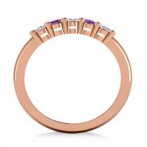 Oval Diamond & Amethyst Five Stone Ring 14k Rose Gold (1.00ct)
