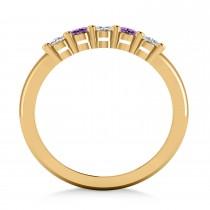 Oval Diamond & Amethyst Five Stone Ring 14k Yellow Gold (1.00ct)