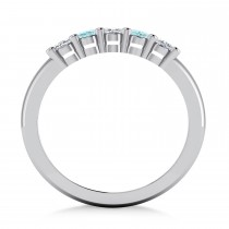 Oval Diamond & Aquamarine Five Stone Ring 14k White Gold (1.00ct)