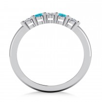 Oval Blue & White Diamond Five Stone Ring 14k White Gold (1.00ct)