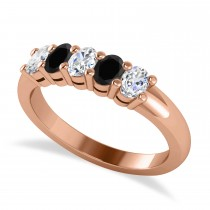 Oval Black & White Diamond Five Stone Ring 14k Rose Gold (1.00ct)