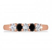 Oval Black & White Diamond Five Stone Ring 14k Rose Gold (1.00ct)