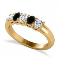 Oval Black & White Diamond Five Stone Ring 14k Yellow Gold (1.00ct)