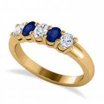 Oval Diamond & Blue Sapphire Five Stone Ring 14k Yellow Gold (1.00ct)