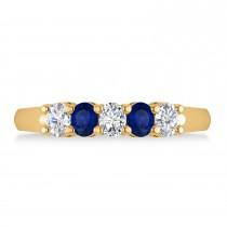 Oval Diamond & Blue Sapphire Five Stone Ring 14k Yellow Gold (1.00ct)