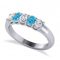 Oval Diamond & Blue Topaz Five Stone Ring 14k White Gold (1.00ct)