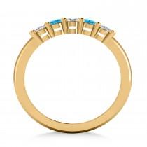 Oval Diamond & Blue Topaz Five Stone Ring 14k Yellow Gold (1.00ct)