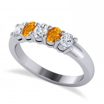 Oval Diamond & Citrine Five Stone Ring 14k White Gold (1.00ct)