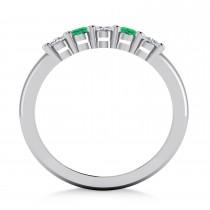 Oval Diamond & Emerald Five Stone Ring 14k White Gold (1.00ct)