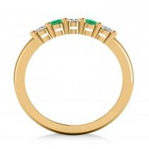 Oval Diamond & Emerald Five Stone Ring 14k Yellow Gold (1.00ct)