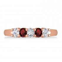 Oval Diamond & Garnet Five Stone Ring 14k Rose Gold (1.00ct)