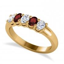 Oval Diamond & Garnet Five Stone Ring 14k Yellow Gold (1.00ct)